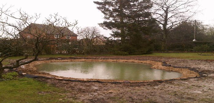 clay positioned on pond