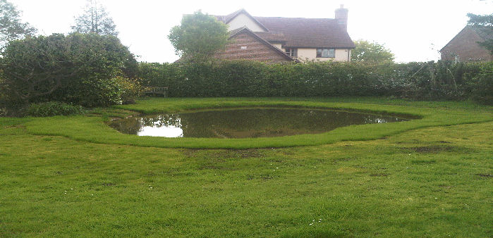 finsished turfing and seeding to pond